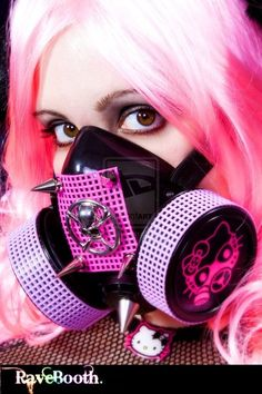 Items similar to Hello LED Gas Mask with Skull Ornament (LEDs Optional) Cute Kitty Burning Man Cyber Goth Mask on Etsy Hipsters, Gas Mask Girl, Rave Mask, Fashion Mask, Punk Fashion, Masks Art, Cybergoth, Creepy Cute, Cosplay