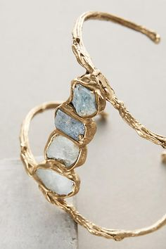 Bodhi Bridge Cuff by Emilie Shapiro for Anthro | jewelry | bracelet | gold | blue | raw stones