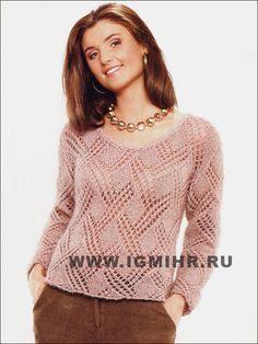 Бежевый ажурный пуловер. Спицы FREE