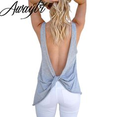 Awaytr Women's Tops Fashion Backless Sleeveless Shirt Sexy Ladies Female Back Cross Tops Summer Beach Casual Gray/White/Black