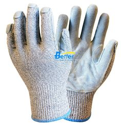 HPPE Anti-cut Working Glove 13 gauge HPPE Safety Glove Cow Split Leather Cut Resistant Work Glove