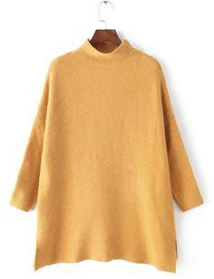 Stylish Turtleneck Long Sleeve Pure Color Side Slit Women's Sweater