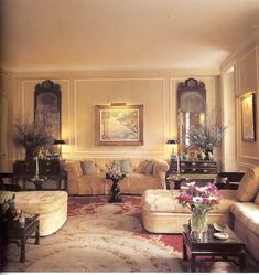 The Manhattan living room of Nan and Thomas Kempner as it appeared in the mid 1980s.