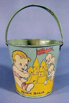 """5"""" tin Kewpie Beach sand pail, featuring the popular Scootles and Kewpie illustrated characters, United States, 1937, by Rose O'Neill."""