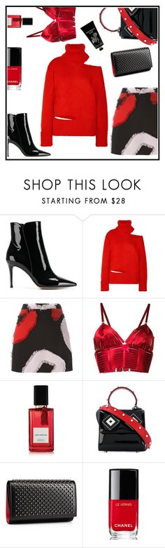 """""""Happy Wednesday"""" by sunnydays4everkh ❤ liked on Polyvore featuring Gianvito Rossi, Monse, Versace, Bordelle, Diana Vreeland Parfums, Les Petits Joueurs, Christian Louboutin, Chanel and TokyoMilk"""