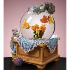 cats & fish snow globe