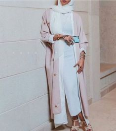 pink with white abaya- How to style your Abaya cardigan for Ramadan http://www.justtrendygirls.com/how-to-style-your-abaya-cardigan-for-ramadan/