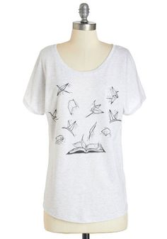 On the Wings of Words Tee. Let your imagination soar as high as the lofty print on this heather-grey tee! #grey #modcloth