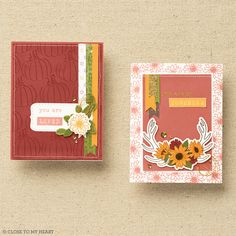 We love the warm tones in these fun, fall-inspired cards. #cardmaking #crafting Close To My Heart, Autumn Inspiration, Our Love, Cardmaking, Cards, Handmade, Making Cards, Playing Cards, Hand Made