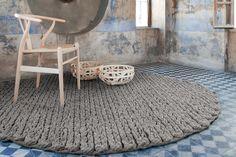 Trenzas Circular Rug in taupe for GAN Rugs, Spain