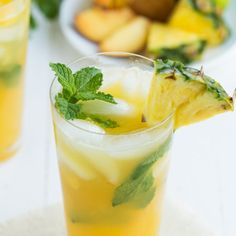 Pineapple Peach Mojito with fresh peaches, mint and more!