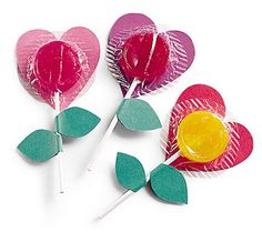 cute for school valentines days! stick card hearts to lollypops. Could also do flowers instead of hearts, as a party favour