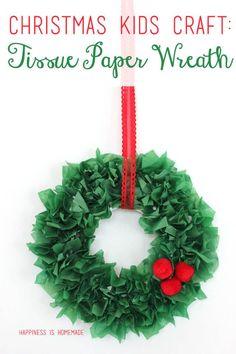 Kids Christmas Craft: Tissue Paper Wreath via @hiHomemadeBlog