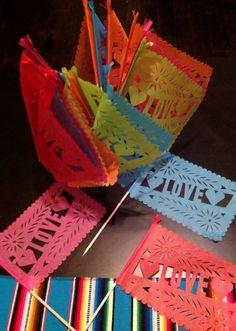 20 Mexican AMOR or LOVE Papel Picado Banderitas - Wedding - Fiesta - Favors - Decor via Etsy