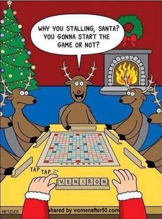 Santa and the reindeers play Scrabble.