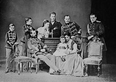 Alexander II with his family. Standing from left to right are his children Grand Duke Paul Alexandrovich, Grand Duke Sergei Alexandrovich, Grand Duchess Maria Alexandrovna, Grand Duke Alexei Alexandrovich, Tsesarevich Alexander, later Alexander III, and Grand Duke Vladimir Alexandrovich. Alexander II sits in front. Sitting beside him to the right is his daughter-in-law Tsesarevna Maria Feodorovna with her son Grand Duke Nicholas Alexandrovich, later Nicholas II