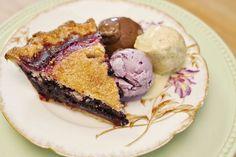 Sassafras Bakery's Elderberry Pie, with Dark Chocolate, Pistachio & Honey, and Wildberry Lavender ice creams.  OH. EM. GEE.