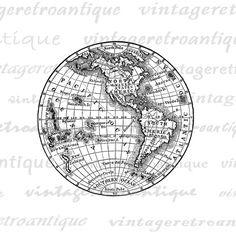 Digital Printable Antique Earth Globe Map by VintageRetroAntique