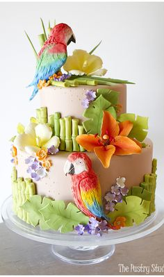 Tropical Flowers & Parrot Themed Cake - beautiful