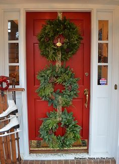 Triple Wreaths on Front Door Between Naps on the Porch Love this idea, going to do this