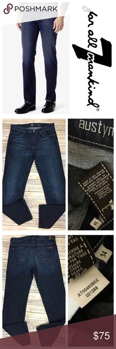"""7 For All Mankind Austyn Relaxed Straight LA Dark 7 For All Mankind Jeans Austyn Relaxed Straight 34 x 36 Long LA Dark Soft Denim Tag size - 34 Waist Measured Across - 18"""" Inseam - 34"""" Rise - 10.5"""" Great used condition! 7 For All Mankind Jeans Relaxed"""