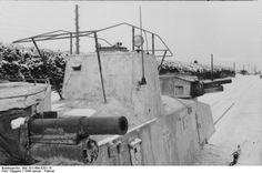 Soviet MBV-2 Armored Rail Cruiser captured by the Germans January - February 1944 Soviet Union.