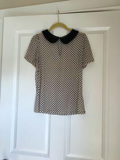 Forever 21 Peter Pan collar shirt size medium. Shirt is sheer. Needs an undershirt. $10 plus shipping. Buy My Clothes, Collar Shirts, Peter Pan, Polka Dot Top, Forever 21, Medium, Stuff To Buy, Tops, Women
