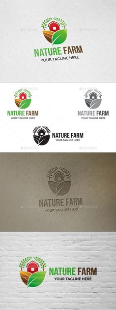 Nature Farm - Logo Template by martinjamez Logo Vector Color Variations : Gradient, Flat, Greyscale Letterhead Template, Logo Design Template, Brochure Template, Logo Templates, Cow Logo, Farm Logo, Logo Branding, Branding Design, Agriculture Logo