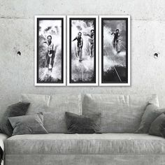 This wonderful set of three black and white Vintage Water Ski Splash Framed Prints is perfect to add a fun summer-like vibe at your lake or beach home. Lakeside Living, Bathing Beauties, Water Ski, Skiing, Photo Wall, Framed Prints, Wall Decor, Black And White, Fun