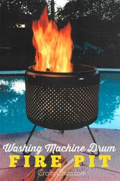 Washing Machine Drum Fire Pit 2019 Here's how to make a washing machine drum fire pit for your patio! The post Washing Machine Drum Fire Pit 2019 appeared first on Patio Diy. Fire Pit Seating, Fire Pit Area, Fire Pit Table, Fire Pit Backyard, Patio Fire Pits, Camping Fire Pit, Outside Fire Pits, Seating Areas, Barrel Fire Pit