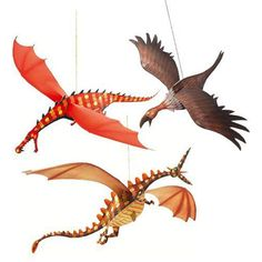 Djeco Merciless Dragons  £5.25  Three amazing paper dragons which can be hung from the ceiling, shelves or window – anywhere in fact!