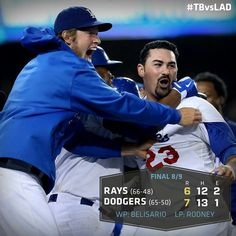 Walk off win by throwing error on pitcher! Come back after down by August 2013 Let's Go Dodgers, Dodgers Nation, Dodgers Baseball, Amazing Comebacks, Adrian Gonzalez, No Crying In Baseball, Dodger Blue, Dodger Stadium, Tampa Bay Rays