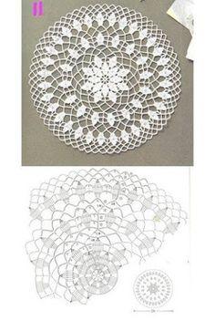 Ideas For Crochet Bag Flower Beautiful Crochet Doily Diagram, Crochet Mandala Pattern, Crochet Chart, Thread Crochet, Crochet Doilies, Crochet Stitches, Free Crochet, Knit Crochet, Crochet Patterns