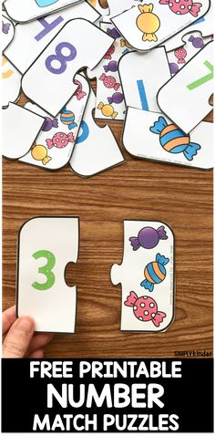 A fun way to work on numbers, counting and … Free Printable Number Match Puzzles! A fun way to work on numbers, counting and number association for preschool and kindergarten kids! Preschool Learning Activities, Free Preschool, Preschool Printables, Toddler Learning, Kindergarten Math, Printable Puzzles For Kids, Educational Activities, Colour Activities, Preschool Puzzles