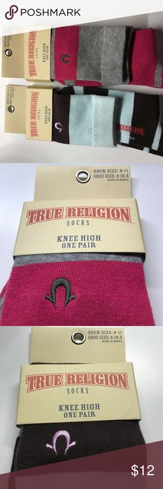 True Religion Socks 2 Pair! 2 Pairs of New true Religion Knee socks! Pink/gray and brown/ light blue green! Bundle for better pricing! True Religion Accessories Hosiery & Socks