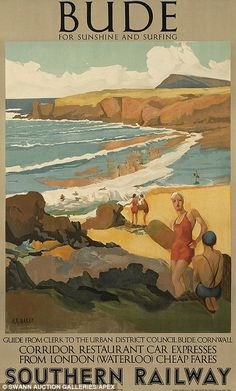 Vintage railway posters of UK seaside destinations - Bude
