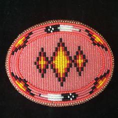Native American Indian Beaded Belt Buckle Large Oval Geometric Design Vtg
