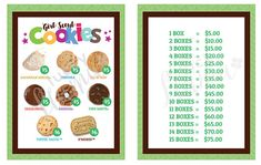 2018 Girl Scout Cookie lanyard  Printable GREEN VERSON