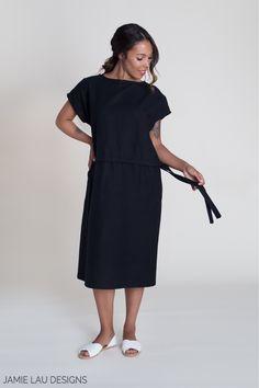 Image of Dark Navy Linen-Cotton Column Dress
