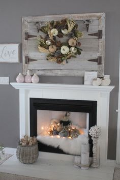 Don't just decorate the top of your mantle - Velvet Pumpkins look gorgeous INSIDE your fireplace! in fireplace ideas christmas Move Over, Neutral - Rich Jewel Tones for Fall - Simple Cozy Charm Decor, Diy Fireplace Makeover, Freestanding Fireplace, Chimney Decor, Mantle Decor, Home Decor, Rustic Living Room, Fireplace Decor, Fireplace