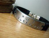 FREE SHIPPING - Men Bracelet, Personalized Hand Stamped, Black  Leather cuff, Mens Bracelet.Men gift, Men leather Bracelet.