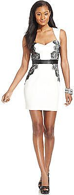 Save on GUESS Sleeveless Contrast-Lace Cutout Sheath - TrackIf