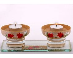 Shabbat Candle Holders  Pomengranates by LDDecoline on Etsy, $39.00