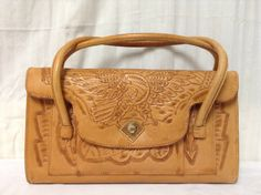 Free Ship Tooled Leather Purse Eagle & Mayan by crazygoodbananas