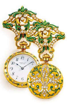RETAILED BY TIFFANY & CO AND DESIGNED BY PHILIPPE PATEK.: A YELLOW GOLD, ENAMEL, AND DIAMOND-SET PENDANT WATCH, MOVEMENT MADE IN 1889. • 10''' lever jewelled movement with lever escapement • white enamel dial, Breguet numerals, blued steel hands • 18k yellow gold contract case, solid case back with green enamel vines flanking and diamond-set fleur-de-lys, with matching pierced brooch pin • movement signed by maker, dial signed by retailer, case numbered.