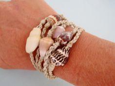 Seashell nylon rope bangle roll on bracelets  by HayleySommer