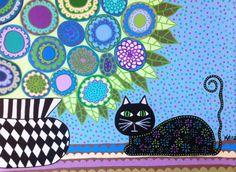 Ambrosino Art NEEDLEPOINT Mexican Folk Art  Flower french Blue Black Cat Violets on Etsy, $22.99