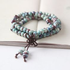 Vintage Vitreous Enamel Jingdezhen Bangles Ethnic Style Fashion Ceramic Beads Bracelet Warp Prayer Mala Porcelain Jewelry