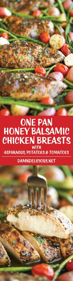 Honey Balsamic Chicken Breasts and Veggies - All cooked on one single pan. Easy…