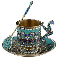 Antique Imperial Russian Solid Silver Enamel Cup Saucer Spoon, circa 1890.